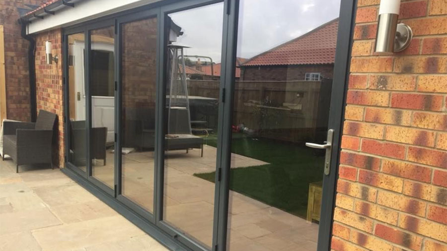 Grey Bi-folding Doors Closed